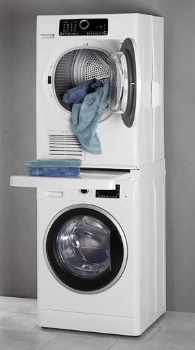 kit di sovrapposizione bianco con ripiano per incolonnamento lavatrice e asciugatrice