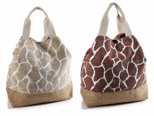 """Borsa Design""""Giraffa"""" in Tessuto e Juta"""