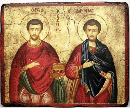 Icona Santi Cosma e Damiano dipinta a mano su tavola di legno antichizzata rispettando le antiche regole dell'iconografia bizantina