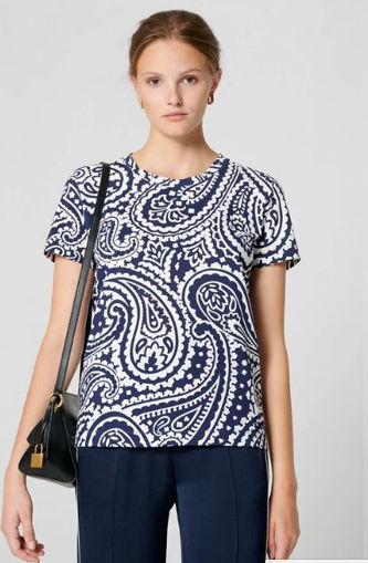 T-shirt in cotone lucido con stampa Paisley