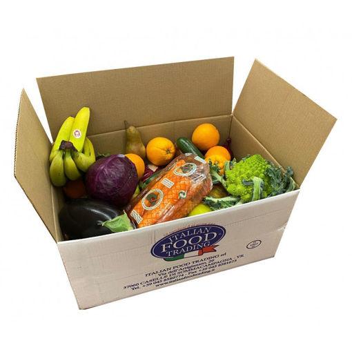 Scatola con 18 Kg circa di frutta e verdura fresca selezionata