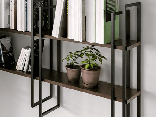 Libreria modulare in alluminio verniciato nero opaco senza mensole