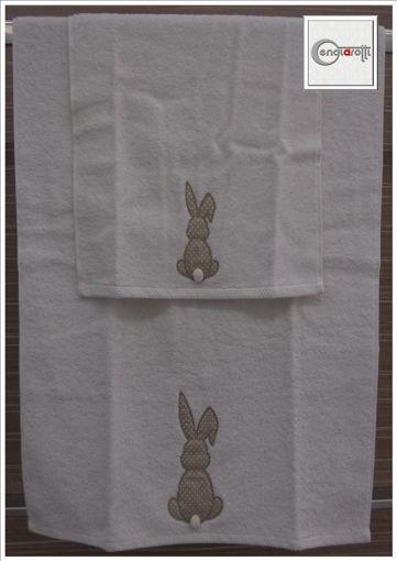 Asciugamani con due inserti a coniglietto