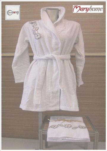 Accappatoio da donna con collo a scialle e applicazioni colore bianco
