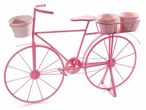 Bicicletta decorativa con 3 portavasi in metallo colorato