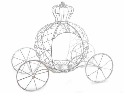 Carrozza delle favole in metallo bianco anticato