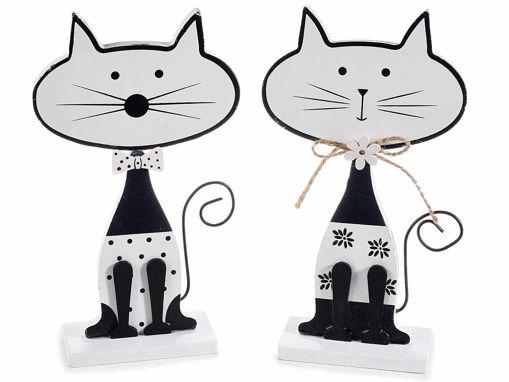 Gatto in legno bianco e nero