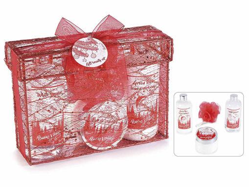 Confezione Regalo in stoffa glitterata 3 prodotti corpo c/spugna