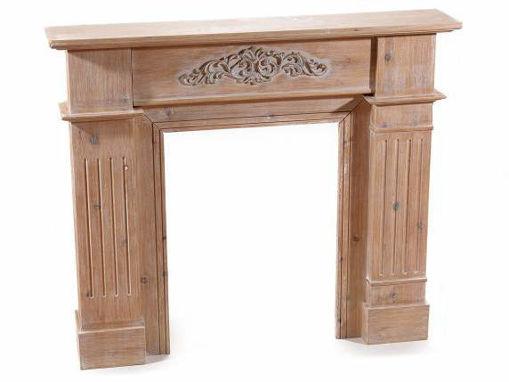 Caminetto frontale decorativo in legno naturale