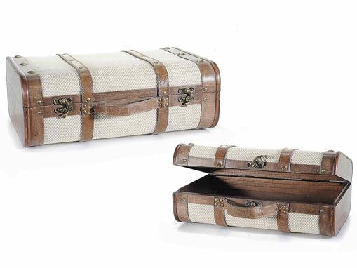 Set 2 valigie in Legno e Stoffa
