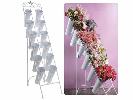 Mobiletto porta fiori pieghevole in metallo bianco c/12 vasi