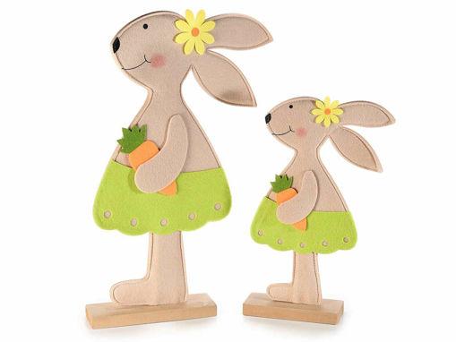 Set 2 Conigli in Legno Con Carota e Fiore