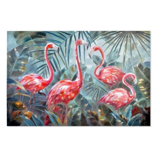 Quadro Dekodonia Flamingo Acrilico Legno Tropicale Tela Fenicottero (180 x 120 cm)
