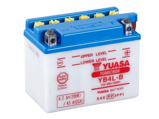 Immagine di Batteria Moto YUASA YB4L-B Senza Acido a Corredo 12V 4Ah 45A