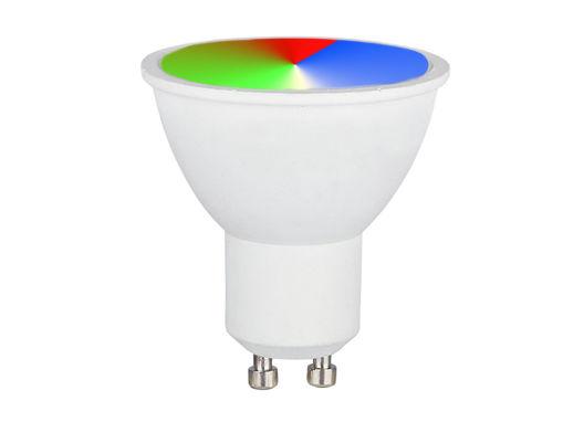 Immagine di Lampada Faretto Led GU10 3,5W RGB + Neutro 4000K Con Telecomando Dimmerabile 290LM SKU-2779