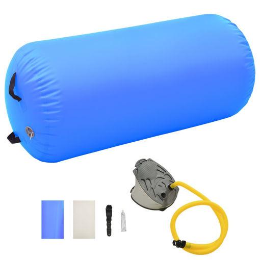 Immagine di Rullo da Ginnastica Gonfiabile con Pompa 120x75 cm in PVC Blu
