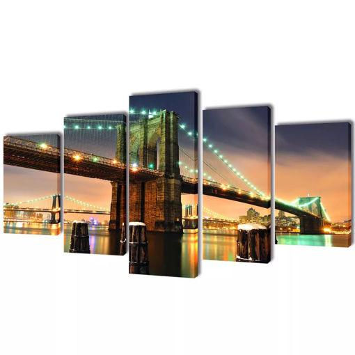5 pz Set Stampa su Tela da Muro Ponte di Brooklyn 100 x 50 cm