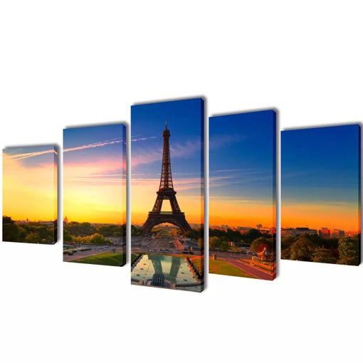 5 pz Set Stampa su Tela da Muro La Torre Eiffel 200 x 100 cm