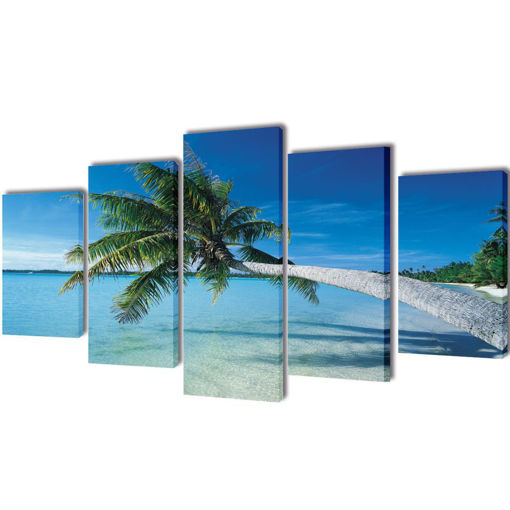 5 pz Set Stampa su Tela da Muro Spiaggia con Palma 200 x 100 cm