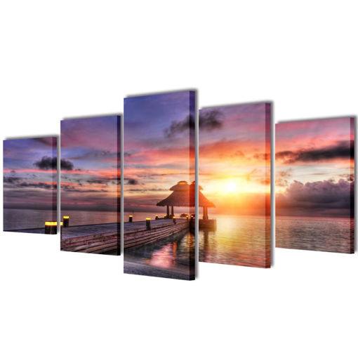 5 pz Set Stampa su Tela da Muro Spiaggia con Padiglione 200 x 100 cm