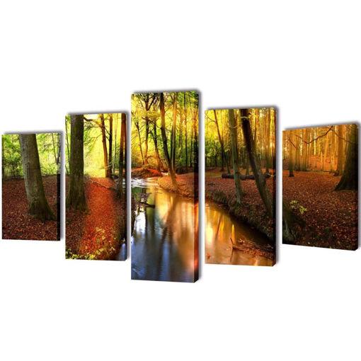 5 pz Set Stampa su Tela da Muro Modello Bosco 200 x 100 cm