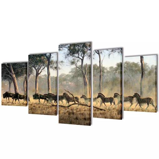5 pz Set Stampa su Tela da Muro Zebre 100 x 50 cm
