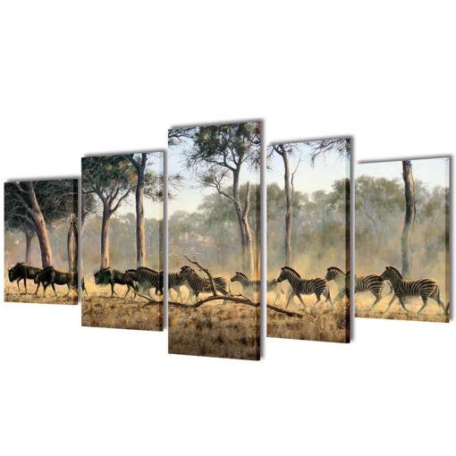 5 pz Set Stampa su Tela da Muro Zebre 200 x 100 cm