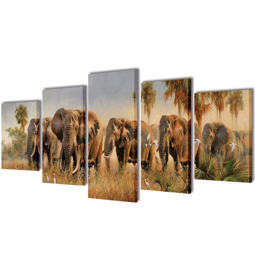5 pz Set Stampa su Tela da Muro Elefanti 200 x 100 cm