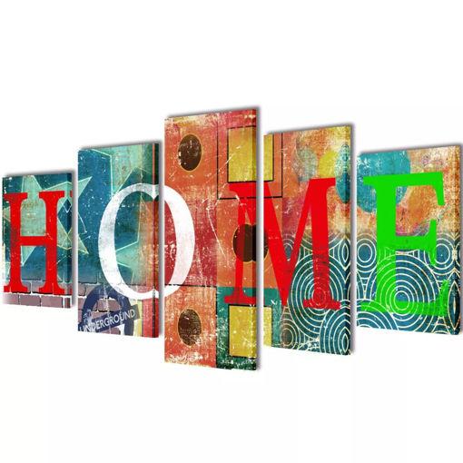 5 pz Set Stampa su Tela da Muro Modello Home Colorato 200 x 100 cm