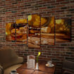 5 pz Set Stampa su Tela da Muro Whiskey e Sigaro 100 x 50 cm