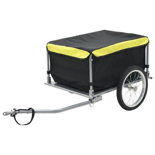 Immagine di Rimorchio da Bici per il Trasporto di Merci Nero e Giallo 65 kg