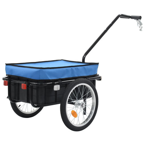 Immagine di Rimorchio Bici per Trasporto Merci 155x61x83 cm Acciaio Blu