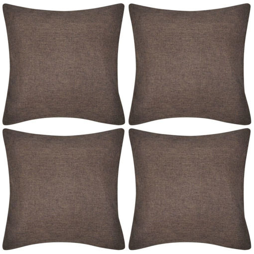Immagine di 4 federe in lino marrone 40 x 40 cm