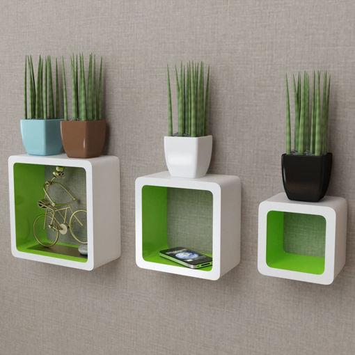 Immagine di 3 Mensole per pareti Bianche-Verdi MDF per Libri/DVD