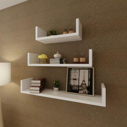 Immagine di 3 Mensole per pareti Bianche MDF per Libri/DVD