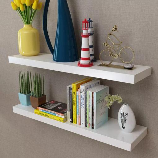 Immagine di 2 Mensole per pareti Bianche MDF per Libri/DVD