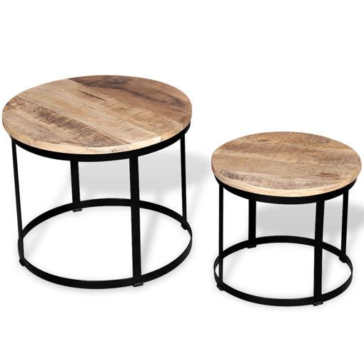 Immagine di 2 Pz Tavolini da Caffè Tondi in Legno Grezzo di Mango 40cm/50cm