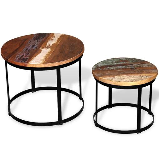 Immagine di 2 Pz Tavoli da Caffè Tondi Legno Massello di Recupero 40cm/50cm