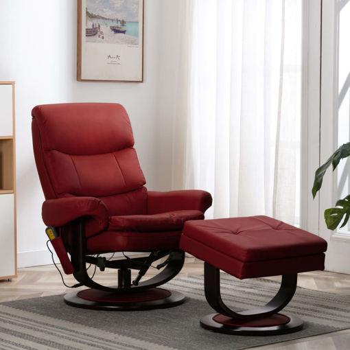 Immagine di Poltrona Massaggiante Rosso Vino in Similpelle e Legno Piegato