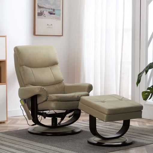 Immagine di Poltrona Massaggiante Cappuccino in Similpelle e Legno Piegato
