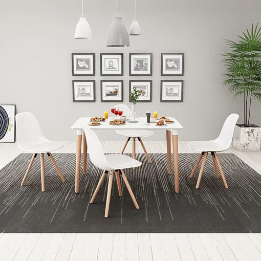 Immagine di 5 Pz Set Tavolo e Sedie Sala da Pranzo Bianco