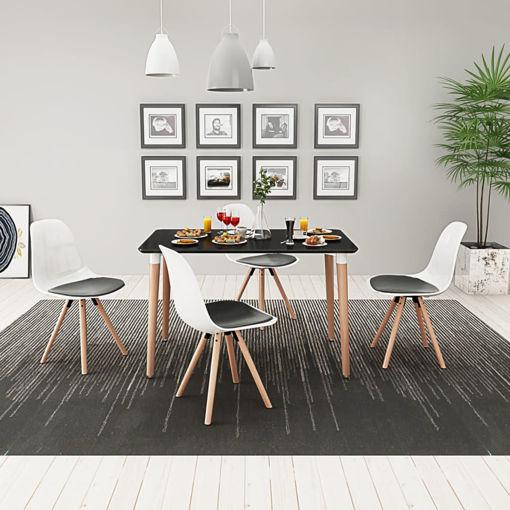 Immagine di 5 Pz Set Tavolo e Sedie Sala da Pranzo Nero e Bianco
