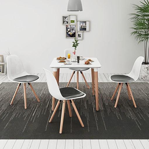 Immagine di 5 Pz Set Tavolo e Sedie Sala da Pranzo Bianco e Nero