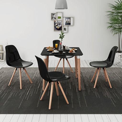 Immagine di 5 Pz Set Tavolo e Sedie Sala da Pranzo Nero