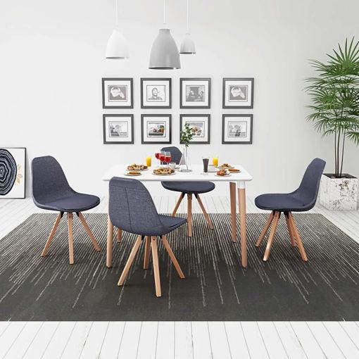 Immagine di 5 Pz Set Tavolo e Sedie Sala da Pranzo Bianco e Grigio Scuro