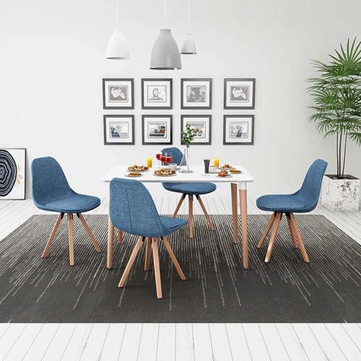 Immagine di 5 Pz Set Tavolo e Sedie Sala da Pranzo Bianco e Blu