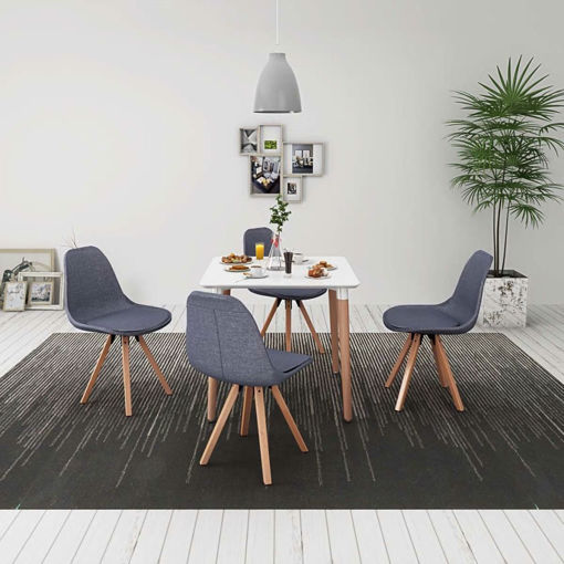 Immagine di 5 Pz Set Tavolo e Sedie Sala da Pranzo Bianco e Grigio Chiaro