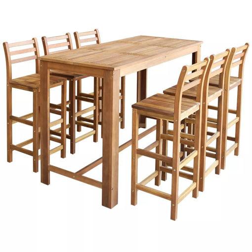 Immagine di 7 Pz Set Tavolo da Bar e Sgabelli in Legno Massiccio di Acacia