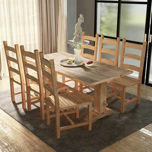 Immagine di 7 pz Set Grande Tavolo e Sedie Sala da Pranzo in Teak