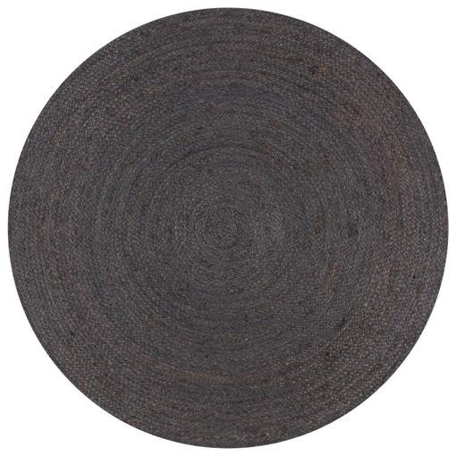 Immagine di Tappeto Lavorato a Mano in Juta Rotondo 150 cm Grigio Scuro